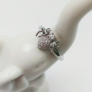 925 Sterling Silver Spider Ring w/ Clear CZ Stones